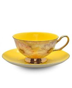 If it wasn't bone china I'd get one of these cups, likely the blue cup though. Yellow Satin Shelley Bone China Tea Cup in Gift Box Tea Cup Set, My Cup Of Tea, Cup And Saucer Set, Tea Cup Saucer, Bone China Tea Cups, China Tea Sets, Teapots And Cups, Vintage China, Vintage Yellow
