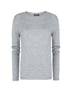 MANGO - NEW - Grey and bling :) Rhinestone wool-blend sweater...