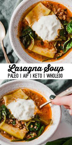 Lasagna Soup (AIP, Keto) This paleo lasagna soup is just the thing when you're craving lasagna! It's low carb, dairy-free and easily adapted to be keto, and AIP compliant. Paleo Menu, Paleo Soup, Paleo Dinner, Paleo Recipes, Soup Recipes, Cooking Recipes, Paleo Dairy, Cooking Tips, Paleo Lasagna