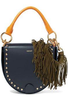 d79213b52d24 Sacai - Horseshoe suede-trimmed studded leather shoulder bag