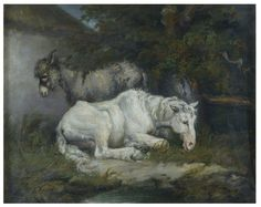"""""""Horse and donkey"""" Place of Origin: Great Britain, UK (painted). Date   early 19th century (painted). Artist/maker: James Ward, born 1769 - died   1859 (painter (artist)). Courtesy: © Victoria and Albert Museum, London   (UK)."""