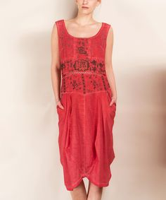 Look at this Angels Never Die Scarlet Slouchy Pocket Linen-Blend Sleeveless Dress on #zulily today!
