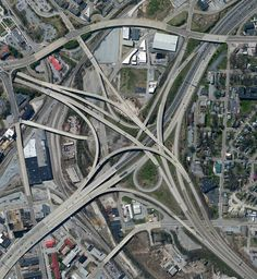 """5/29/2016 Spaghetti Junction Knoxville, Tennessee, USA 35.9663844, -83.929399  A highway interchange connect Interstates 40 and 275 outside of Knoxville, Tennessee, USA. Because of its intertwined construction, a structure like this is commonly called a """"spaghetti junction."""""""
