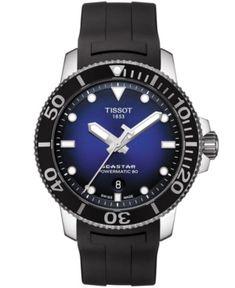 Tissot Men's Swiss Automatic Seastar 1000 Powermatic 80 Black Rubber Strap Watch 43mm