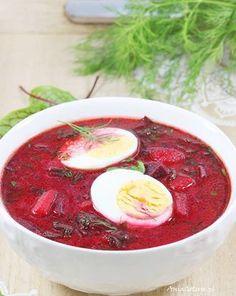 Zupa - Botwinka. Polish Young Beet Soup. Soup Recipes, Great Recipes, Vegan Recipes, I Love Food, Good Food, Vegan Runner, Vegan Gains, Beet Soup, Easy Food To Make