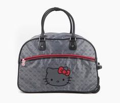 Hello Kitty Rolling Travel Bag: Graphite Jacquard