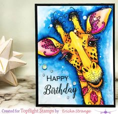 Pink Ink Designs Giraffe with Zig Markers Birthday Cards For Men, Funny Birthday Cards, Forever Friends Cards, Lavinia Stamps Cards, Giraffe Birthday, Ink Stamps, Animal Cards, Funny Cards, I Card
