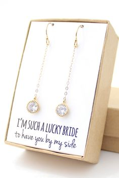 Clear Crystal Round Cubic Zirconia Dangle Earrings With Gold Trim - Bridesmaid Jewelry