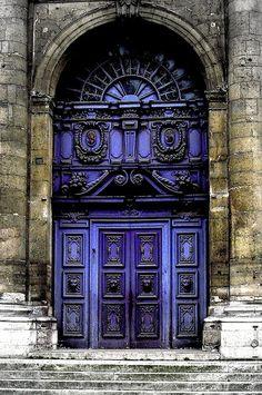 Beautiful Indigo Baroque Door. St. Paul, France
