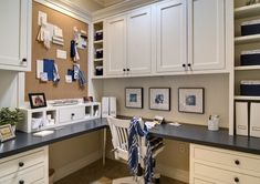 White Cabinets Office Storage Idea