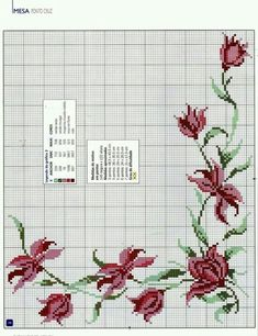 This Pin was discovered by rem Cross Stitch Boarders, 123 Cross Stitch, Cross Stitch Flowers, Cross Stitch Charts, Cross Stitch Designs, Cross Stitching, Cross Stitch Embroidery, Cross Stitch Patterns, Christmas Embroidery Patterns