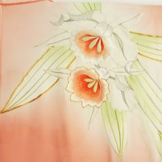 embroided narcissus on a silk furisode kimono