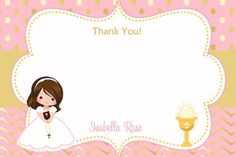 Primera comunión gracias Nota comunión gracias cáliz de