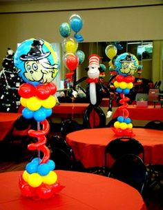 Cat In The Hat balloon centerpieces  www.BrassTacksEvents.com