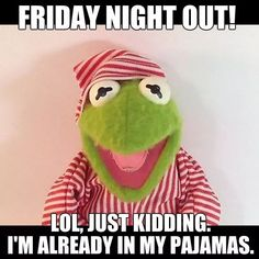Friday Night Out, LOL ! - Everything in between - Humor Funny Kermit Memes, Funny Friday Memes, Funny Quotes, Funny Friday Humor, Jokes Quotes, Humor Videos, Friday Night Quotes, Sleep Meme, Haha