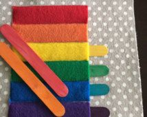 Items similar to Colorful Popsicle Sticks Quiet Book Page on.- Items similar to Colorful Popsicle Sticks Quiet Book Page on Etsy Items similar to Colorful Popsicle Sticks Quiet Book Page on Etsy - Diy Quiet Books, Baby Quiet Book, Felt Quiet Books, Baby Crafts, Felt Crafts, Book Projects, Sewing Projects, Silent Book, Sensory Book