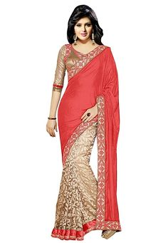 Graceful Beige and Coral Red Saree