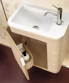 Contemporary Bathroom Vanity from Mastella - Italian vanity designs - vanity for small bathroom ideas – for the downstairs bathroom - Small Bathroom Vanities, Tiny Bathrooms, Tiny House Bathroom, Small Bathroom Storage, Bathroom Design Small, Bathroom Layout, Bathroom Ideas, Narrow Bathroom, Bath Ideas