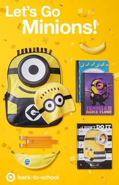 They're little, they're yellow, and they're taking over back-to-school supplies! Minions are everywhere, including some sure-to-be-favorite school supplies like this official Minions backpack and bonus hat, folders and notebooks featuring Bob, Stewart and Kevin. And of course, the only Yoobi pencil case perfect for carrying all those yellow pencils, markers and highlighters—BANANA!