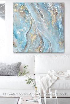 Extra large blue abstract painting, modern acrylic art, original abstract art, texture painting Resin Wall Art, Canvas Wall Art, Wall Art Prints, Marble Painting, Blue Abstract Painting, Leaf Texture, Texture Art, Fine Art Lighting, Painted Leaves
