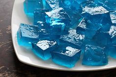 How To Throw a Simple Minecraft Birthday Party--different colored Jell-O squares:  water=blue, red=lava, green=acid
