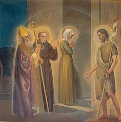 Questa tela raffigura la scena dell'arrivo di Rita al monastero in compagnia dei tre santi protettori.