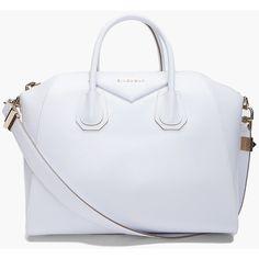 GIVENCHY Medium White Antigona Bag ($1,668) ❤ liked on Polyvore featuring bags, handbags, purses, bolsas, givenchy, genuine leather purse, real leather handbags, givenchy purse, givenchy handbags and white leather purse