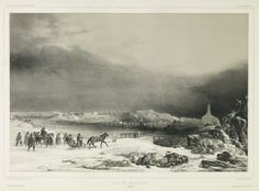 Helsinki circa 1839. View from north, the Lutheran cathedral on the right in the distance.