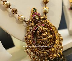 Gold beads and south sea pearl beads haram with perfectly carved Lakshmi pendant in 22 karat antique dull finish gold in nakshi work step gold jhumkas Terracotta Jewellery Designs, Antique Jewellery Designs, Gold Earrings Designs, Gold Jewellery Design, Vintage Jewellery, Necklace Designs, Antique Jewelry, Real Gold Jewelry, Gold Jewelry Simple