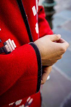 Red coat outfit idea by Miami fashion blogger Tanya Litkovska : featuring Samafaina embroidered coat, other Ukrainian designers