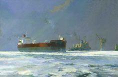 oil tanker and ice breaker in the Sea of Orkutsk