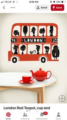 Red Teapot, British Decor, Red Bus, Tea Pots, Tea Pot
