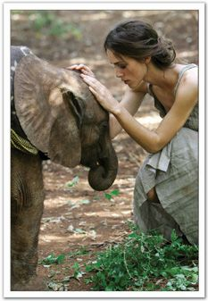 "Keira Knightley visiting the fantastic ""David Sheldrick wildlife trust"" in Kenya best known for the hand-rearing of orphaned elephants, so that they can return to the wild when grown. Photo Arthur Elgort Kenya 2007"