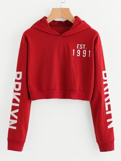 e65d07b427 SheIn offers Letter Print Crop Hoodie   more to fit your fashionable needs.