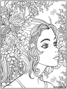 A young beautiful girl with a wreath of flowers on her head coloring page | Adobe Stock
