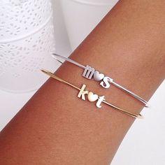 love initial bracelet // silver or gold por gigglosophy en Etsy