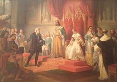 Colón ante los Reyes católicos, Juan Cordero, 1850. Primera representación en México de indios junto a Colón. Cordero utiliza su propio rostro como modelo para uno de los indios