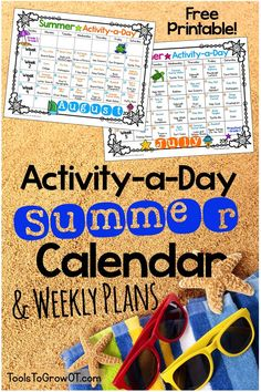 FREE Activity-a-Day Summer Calendar with over 100 Fine Motor and Gross Motor Activities for kids!