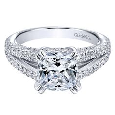 Gabriel & Co. • A 14k White Gold Victorian Split Shank Engagement Ring