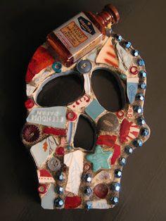 Mosaic skull with Mercuro Chrome medicine bottle, mosaic art.