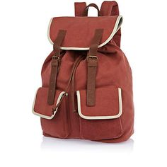Orange canvas contrast trim rucksack - rucksacks - bags / wallets - men