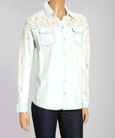 Want to make this, too. Look at this #zulilyfind! Denim Blue & Ivory Lace-Trim Button-Up #zulilyfinds