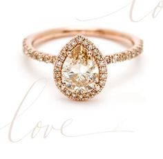 custom pear shape diamond engagement ring champagne diamond with halo in 14K rose gold
