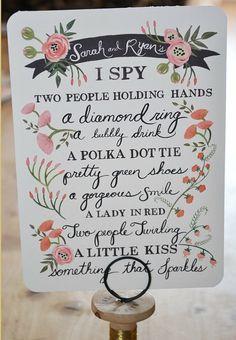 Custom I Spy Wedding Game Card- I want to do a cute game like this at my wedding :) Wedding Table Games, Reception Games, Diy Wedding, Wedding Reception, Wedding Day, Crazy Wedding, Wedding Things, Spring Wedding, Wedding Favors