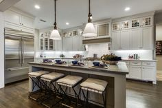 A stunning kitchen in a new home built by Southgate Homes. The Canals at Grand Park community. Frisco, Texas