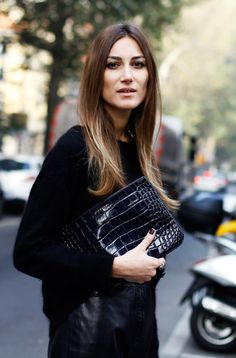 Fashion, fall fashion, all black outfit, ombre, ombre hair, black leather skirt, black clutch, women's fashion.
