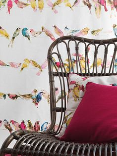 """""""Birds of Paradise"""" from Chivasso's """"Living"""" collection from Unique Fabrics. Team it with their beautiful textured wallpaper in 46 colourways. (Photo from Unique Fabrics) Bird Wallpaper, Textured Wallpaper, Fabric Wallpaper, Flora Design, Bird Design, Textile Texture, Printed Linen, Kid Spaces, Soft Furnishings"""