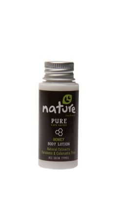 NATURE+hotel+amenities+/+PURE+care+series+35ml    The+natural+body+lotion+with+honey+extract+of+NATURE+pure+care+series,+in+35ml+packaging,+can+be+used+by+hotels+in+the+«amenities»+category.+Moisturize+and+maintain+skin+elasticity,+nourishes+and+leaves+the+skin+soft+and+uniquely+scented.+It+is+suitable+for+all+skin+types,+contains+natural+extracts+and+it+is+parabens+&+colorants+free.