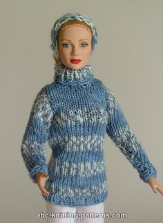 ABC Knitting Patterns - Fair Isle Sweater and Headband for Fashion 16 inch Dolls by Robert Tonner