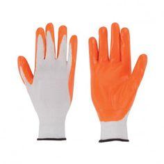 guantes de protección contra riesgos mecánicos de nylon con recubrimiento de nitrilo en naranja epi